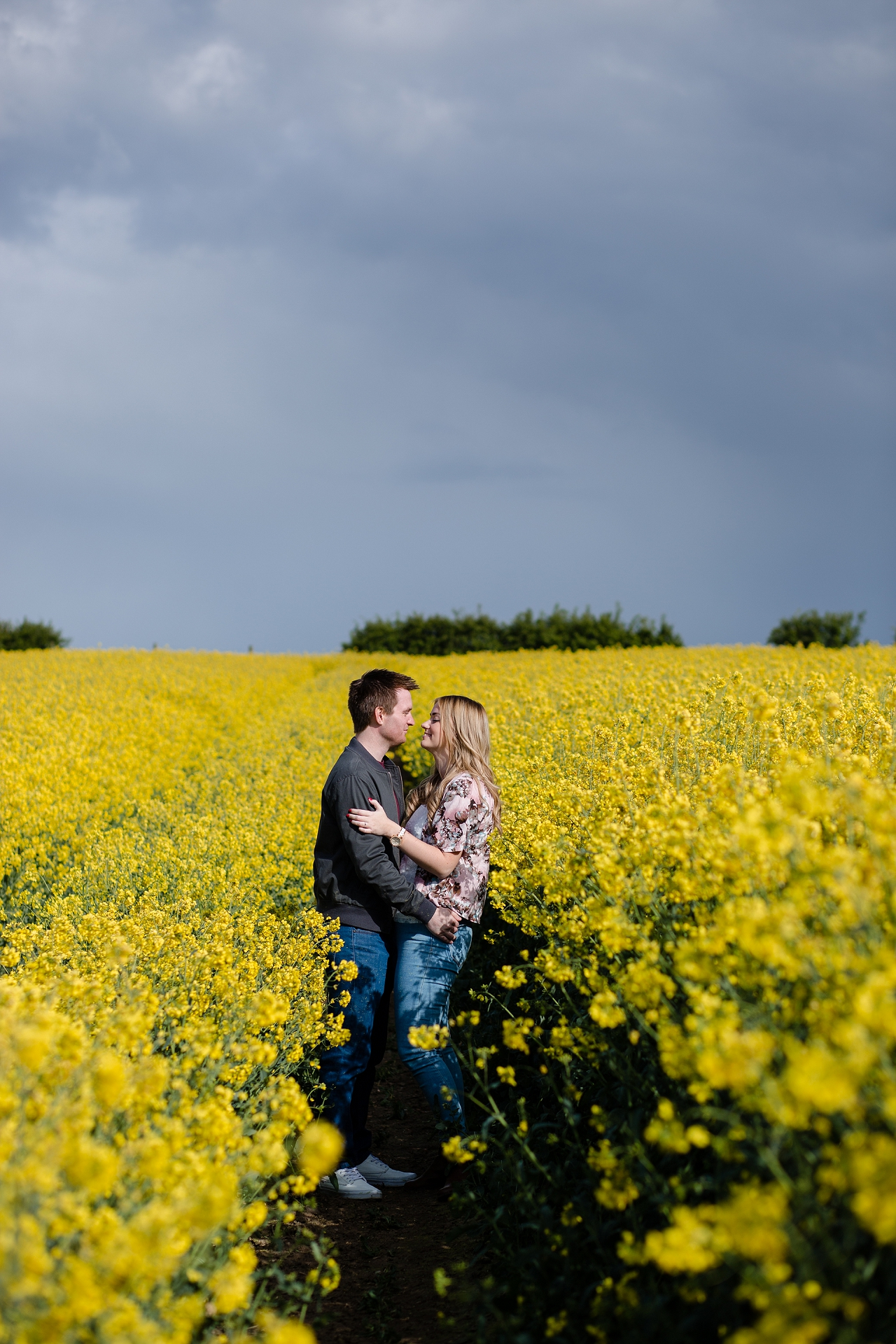 engagement session in a corn field