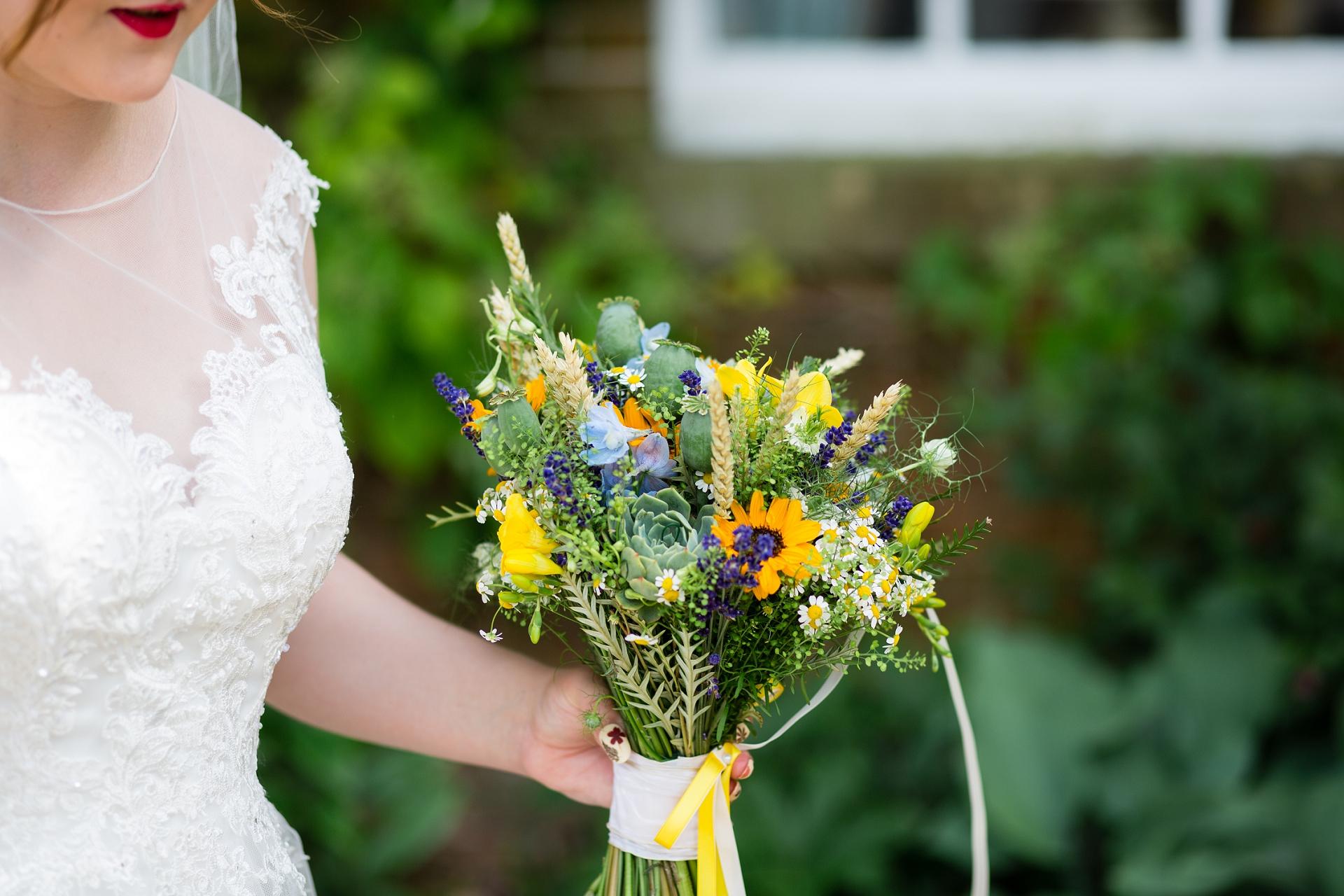 Hand gathered wedding bouquet