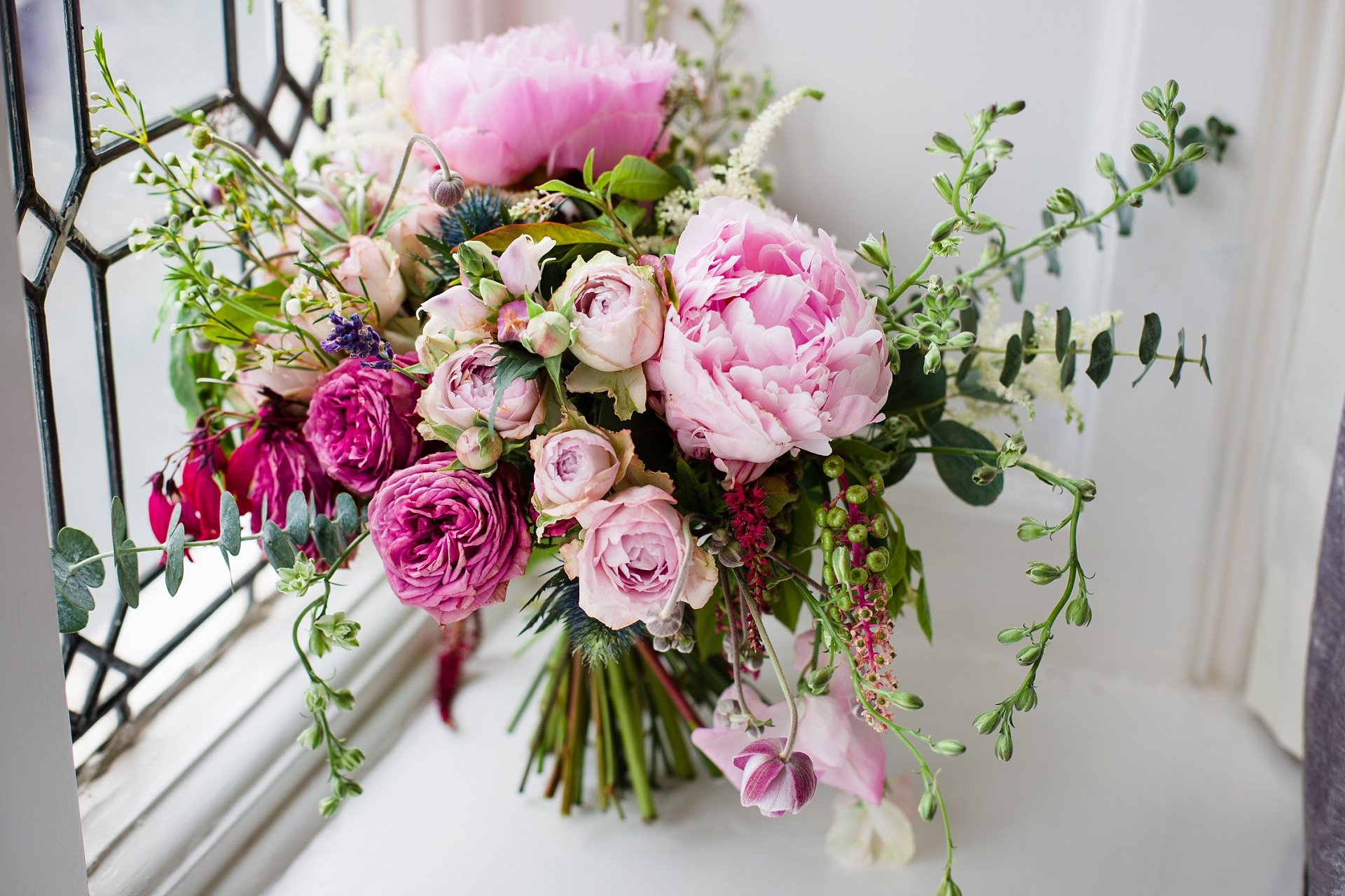 pink rustic bridal bouquet
