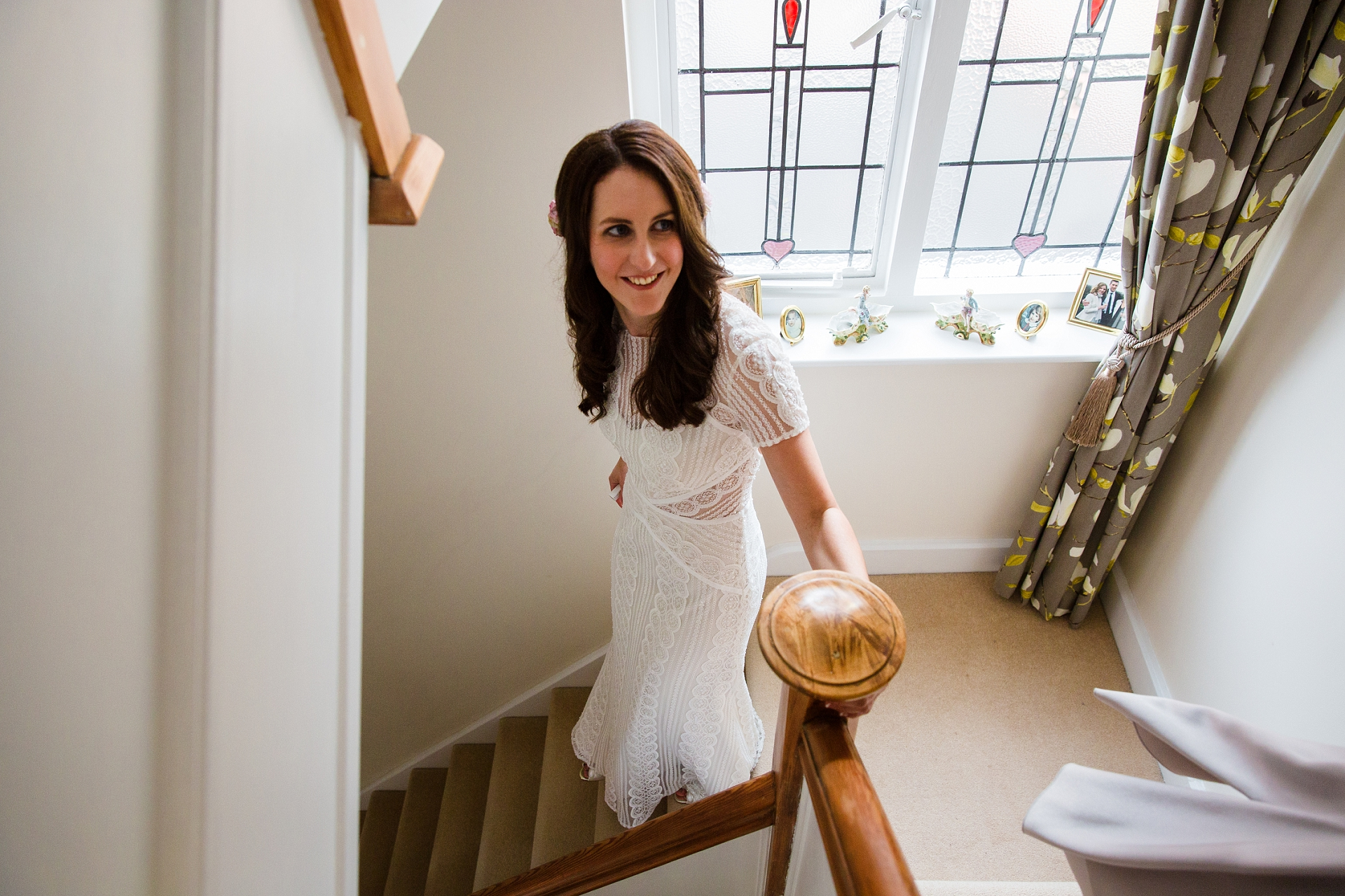 Bride walking down stairs nottingham