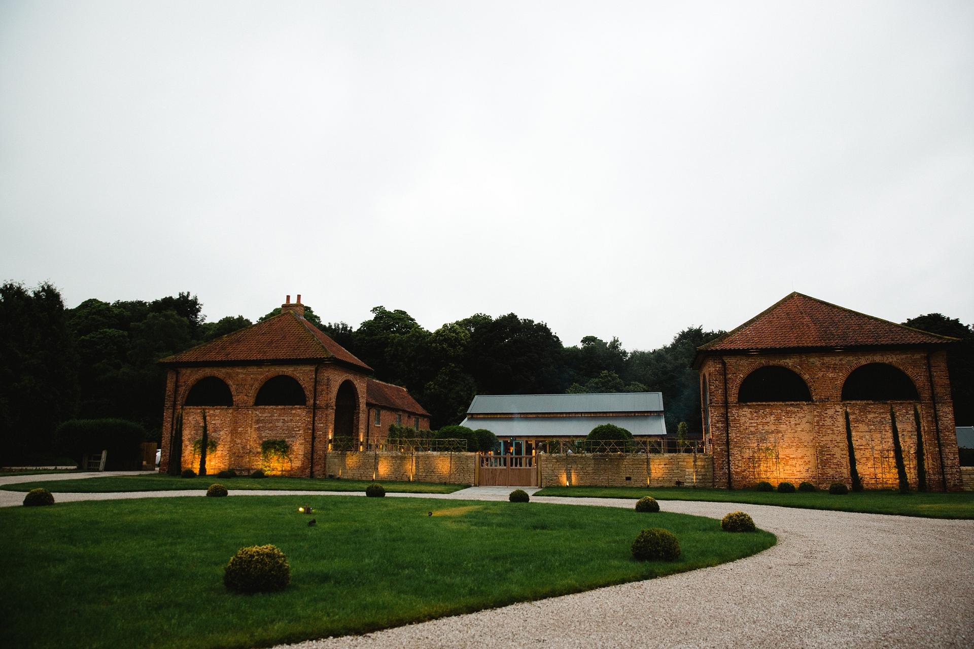 Hazel Gap Barn Wedding venue in the evening