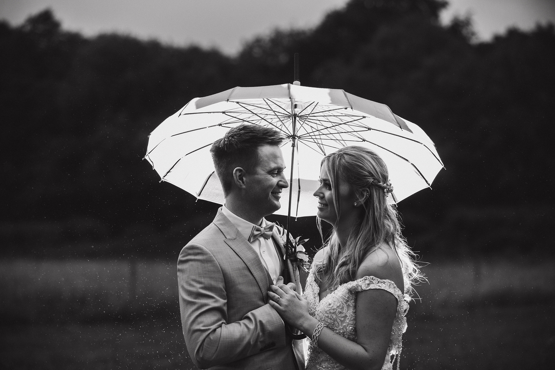Bride and groom evening portrait in the rain