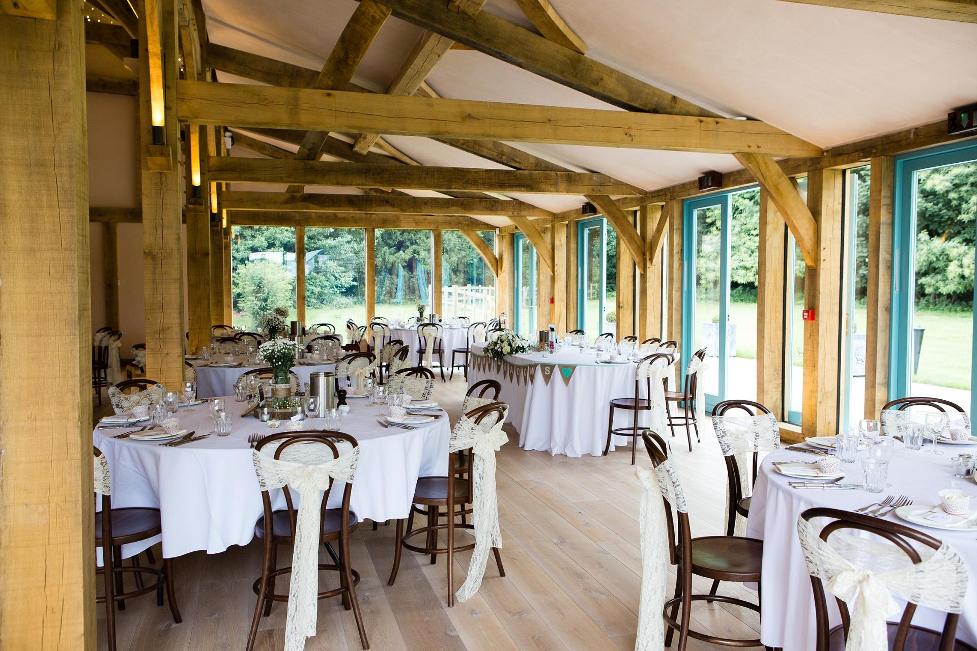 Wedding breakfast room at Hazel Gap Barn