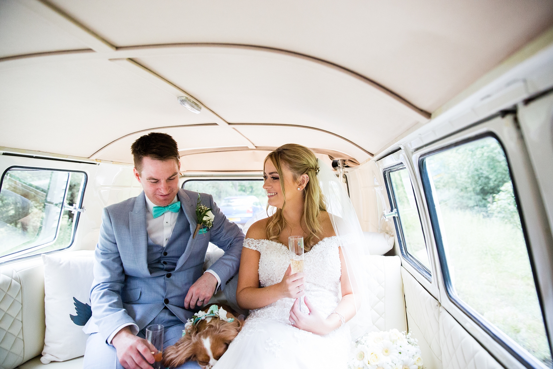 Bride and groom in a camper