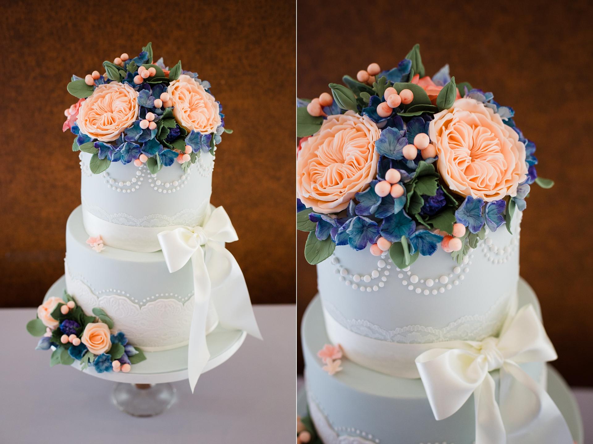 Wedding cake blue and peach
