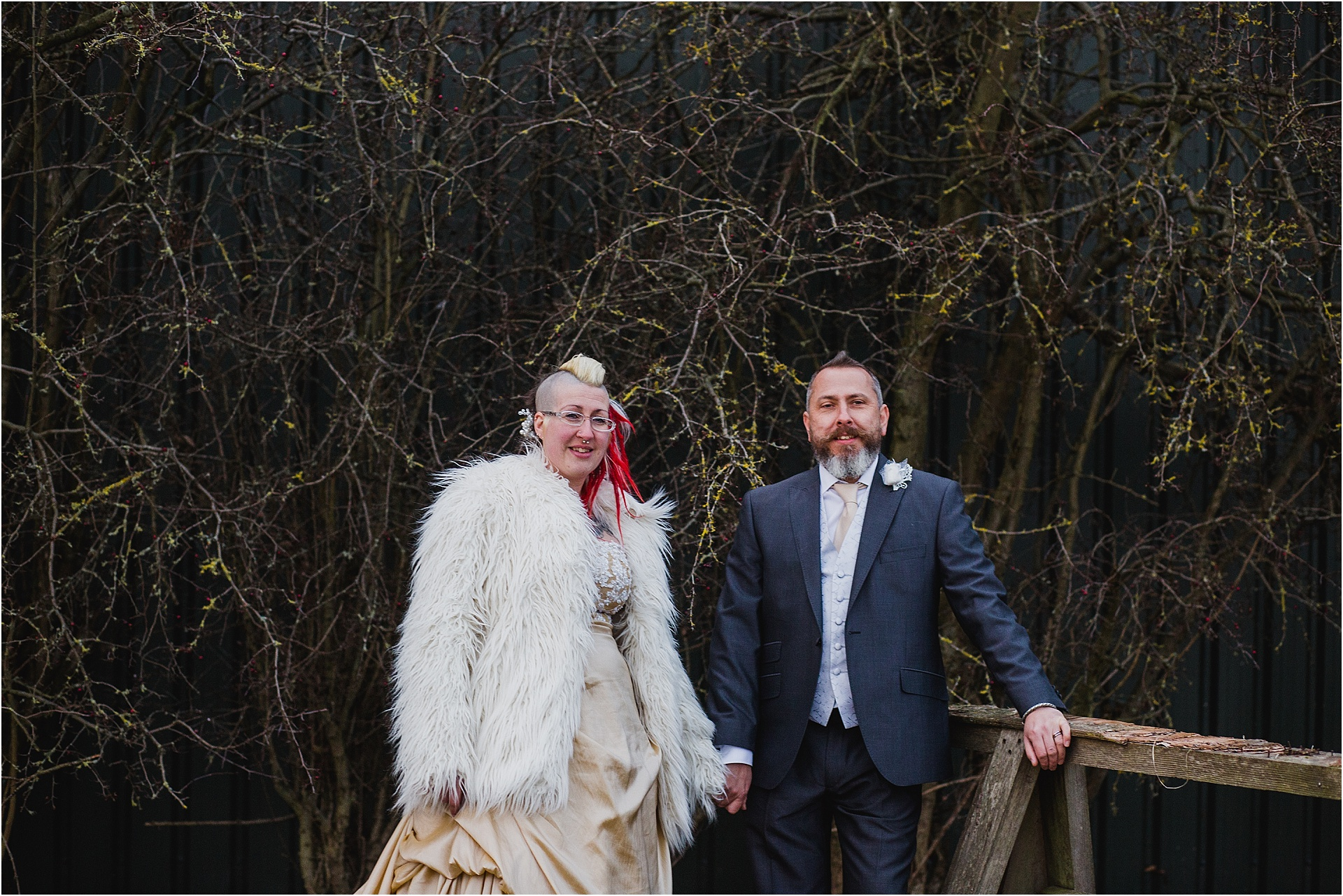 alternative bride and groom winter wedding