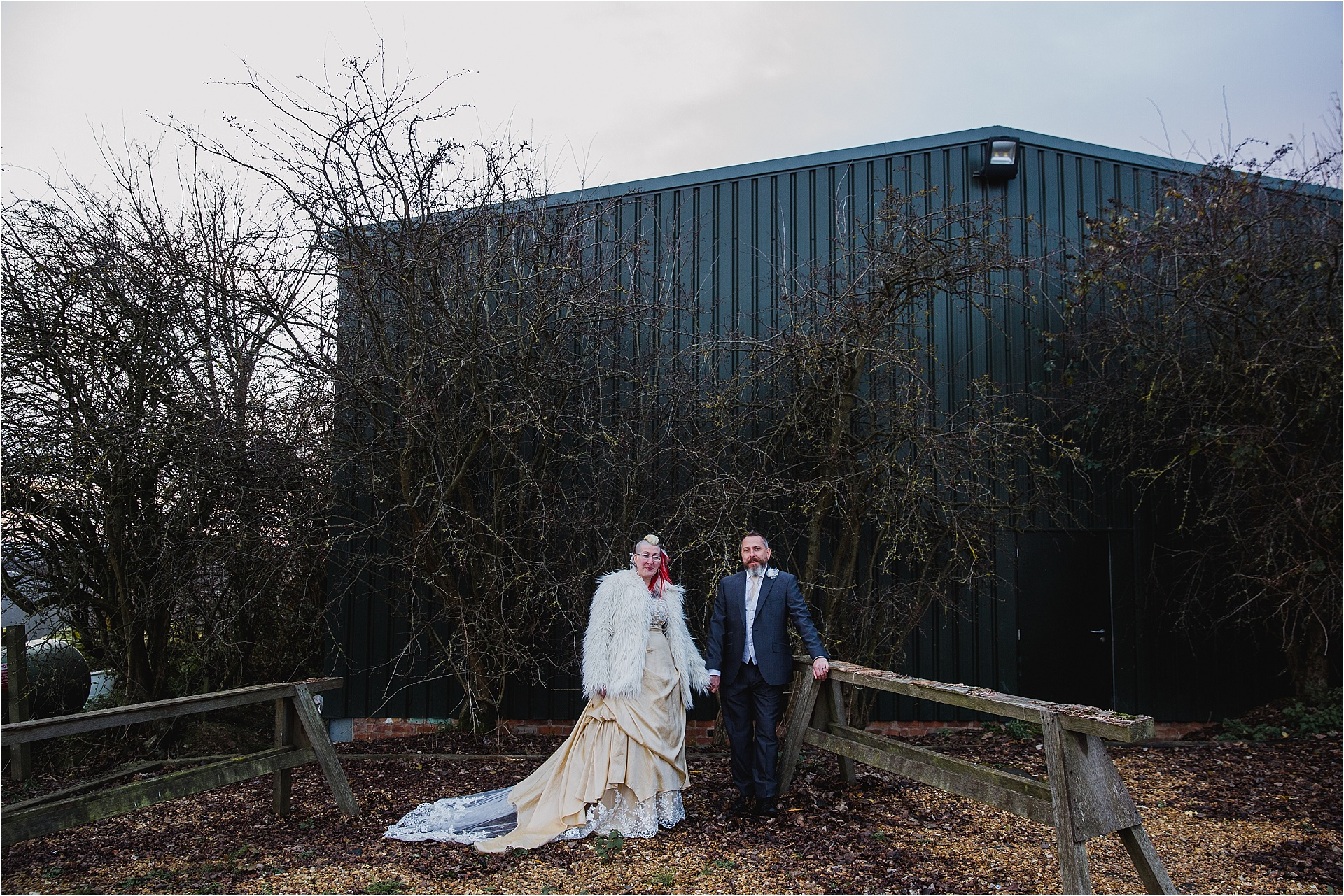 alternative winter wedding couple portrait