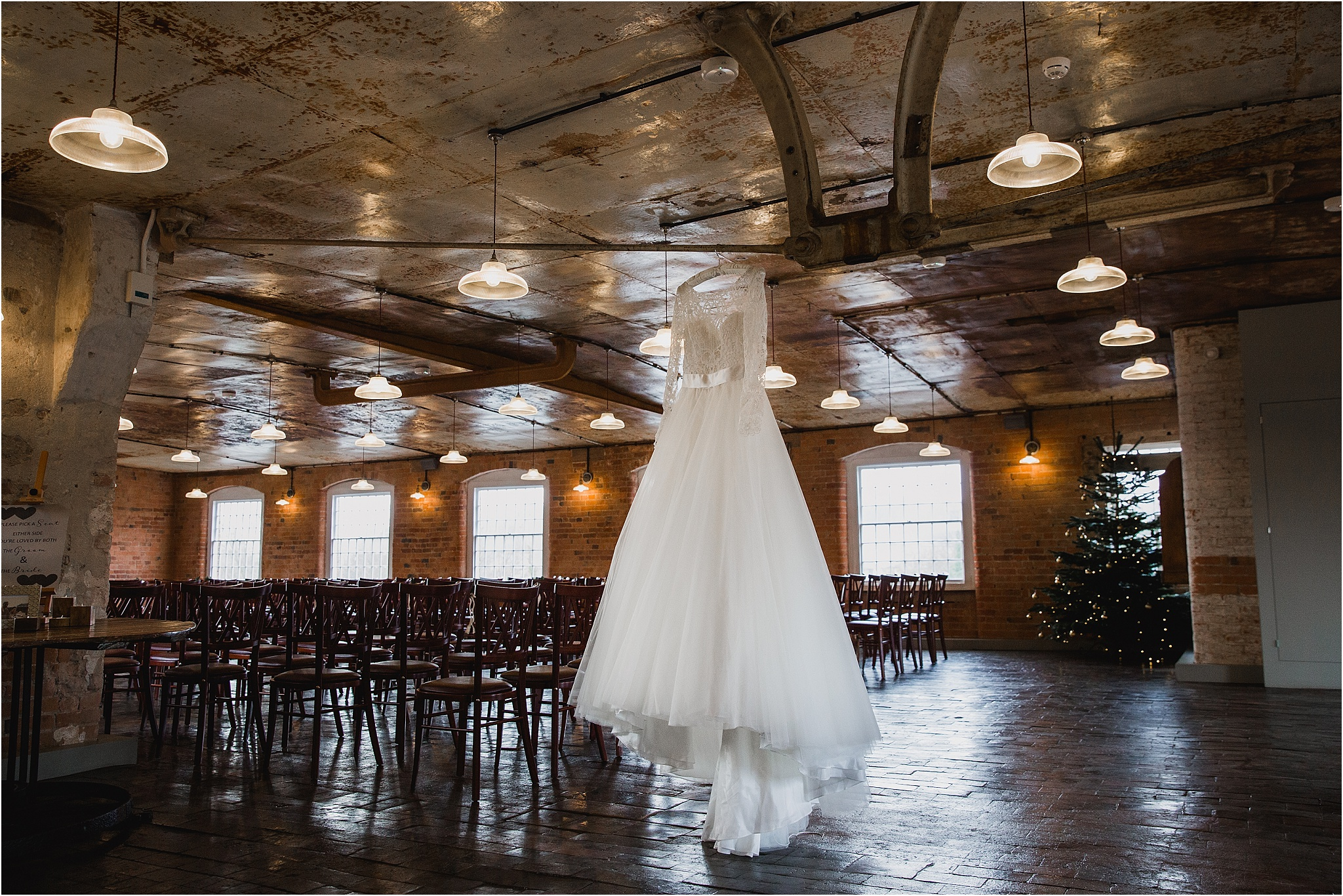 Wedding dress at West Mill Wedding venue