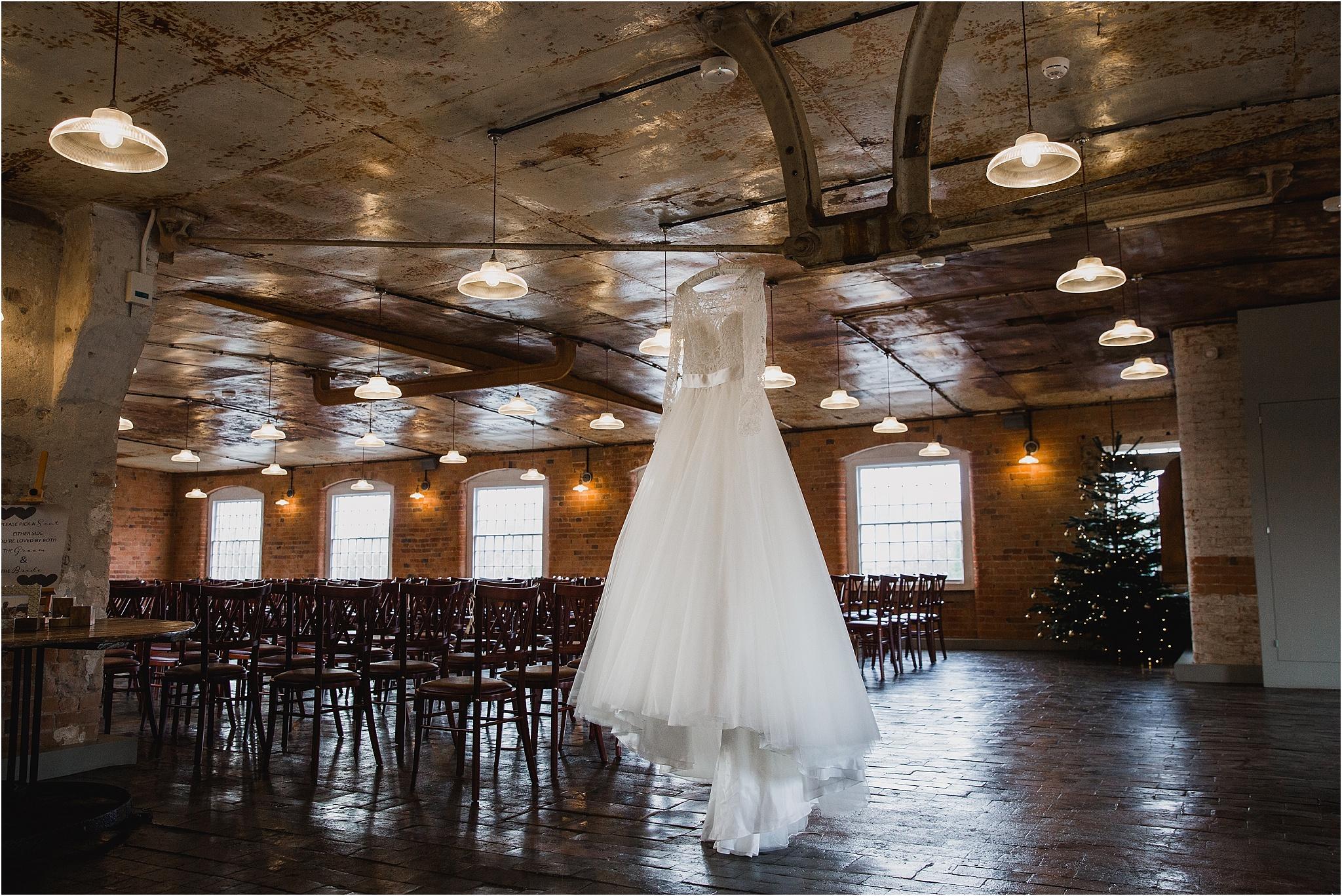 Wedding dress at West Mill Wedding venue