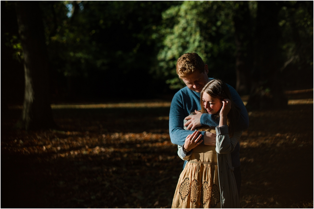 woodland light on an engagement session