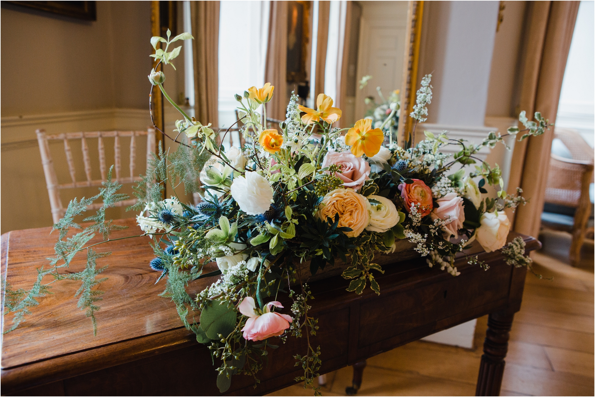 ceremony room flowers at Norwood Park