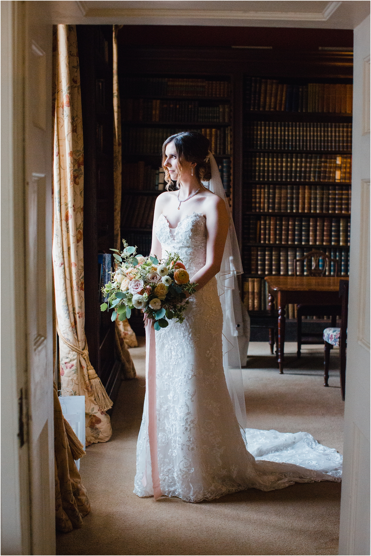 bride in library at Norwood Park