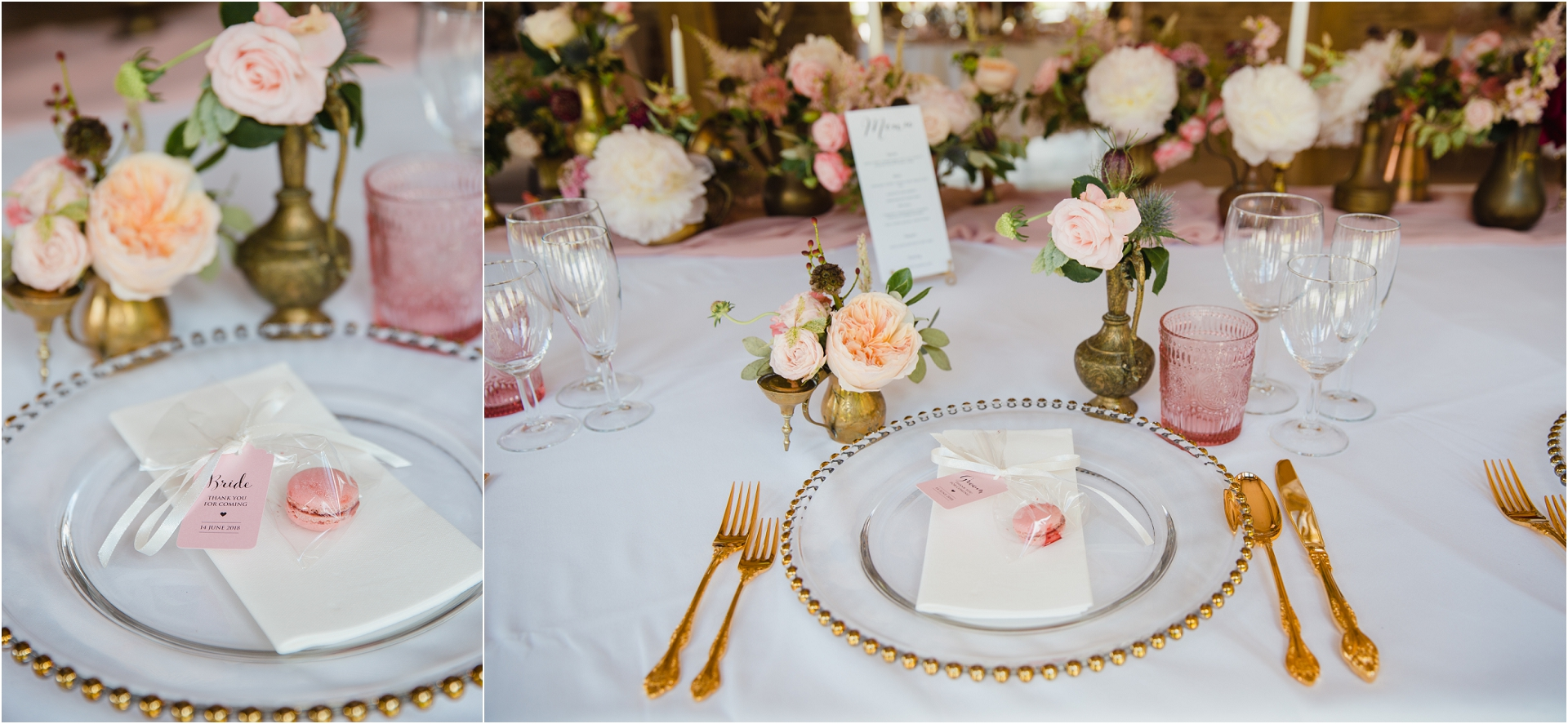 gold and rose wedding decor