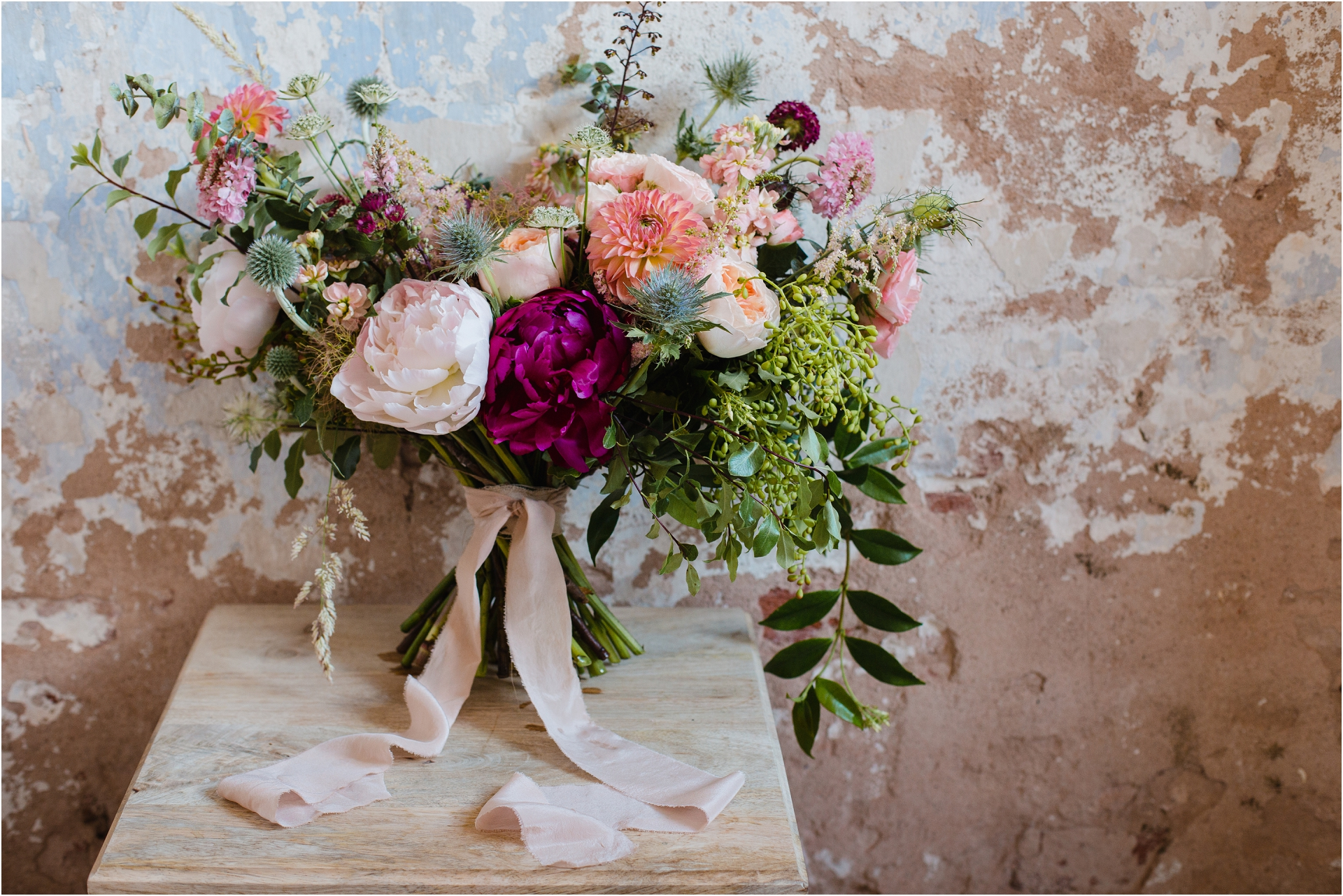 Hand gathered summer wedding flowers