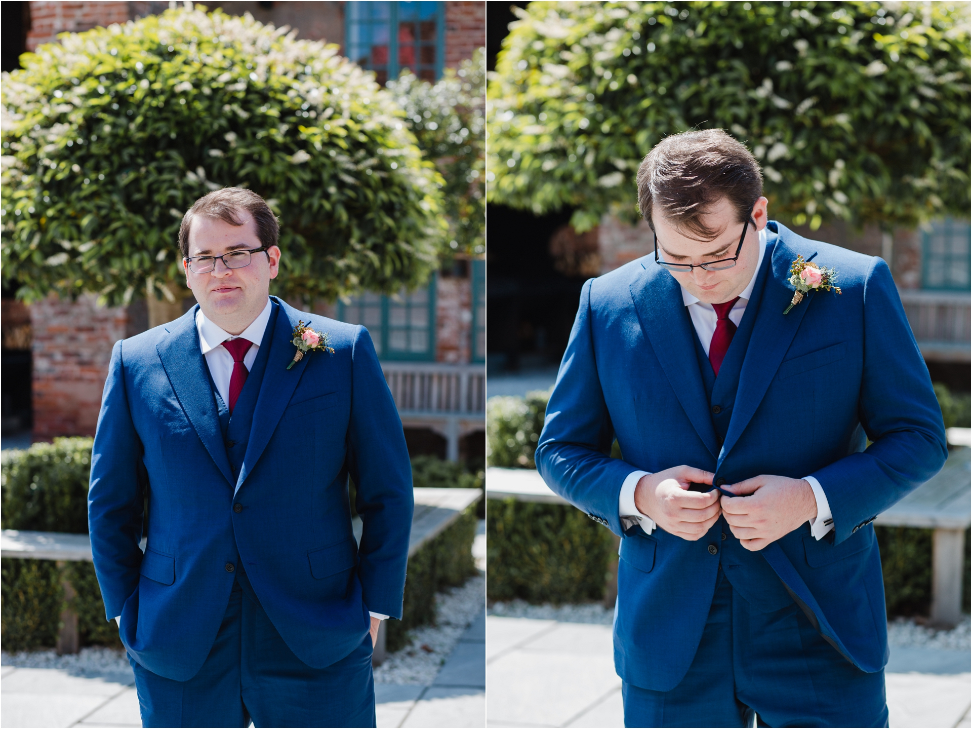 groom style blue suit