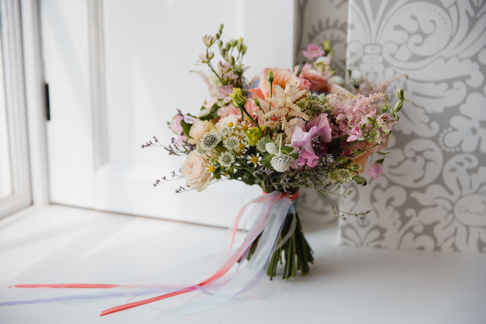 Spring wedding bouquet at Norwood Park