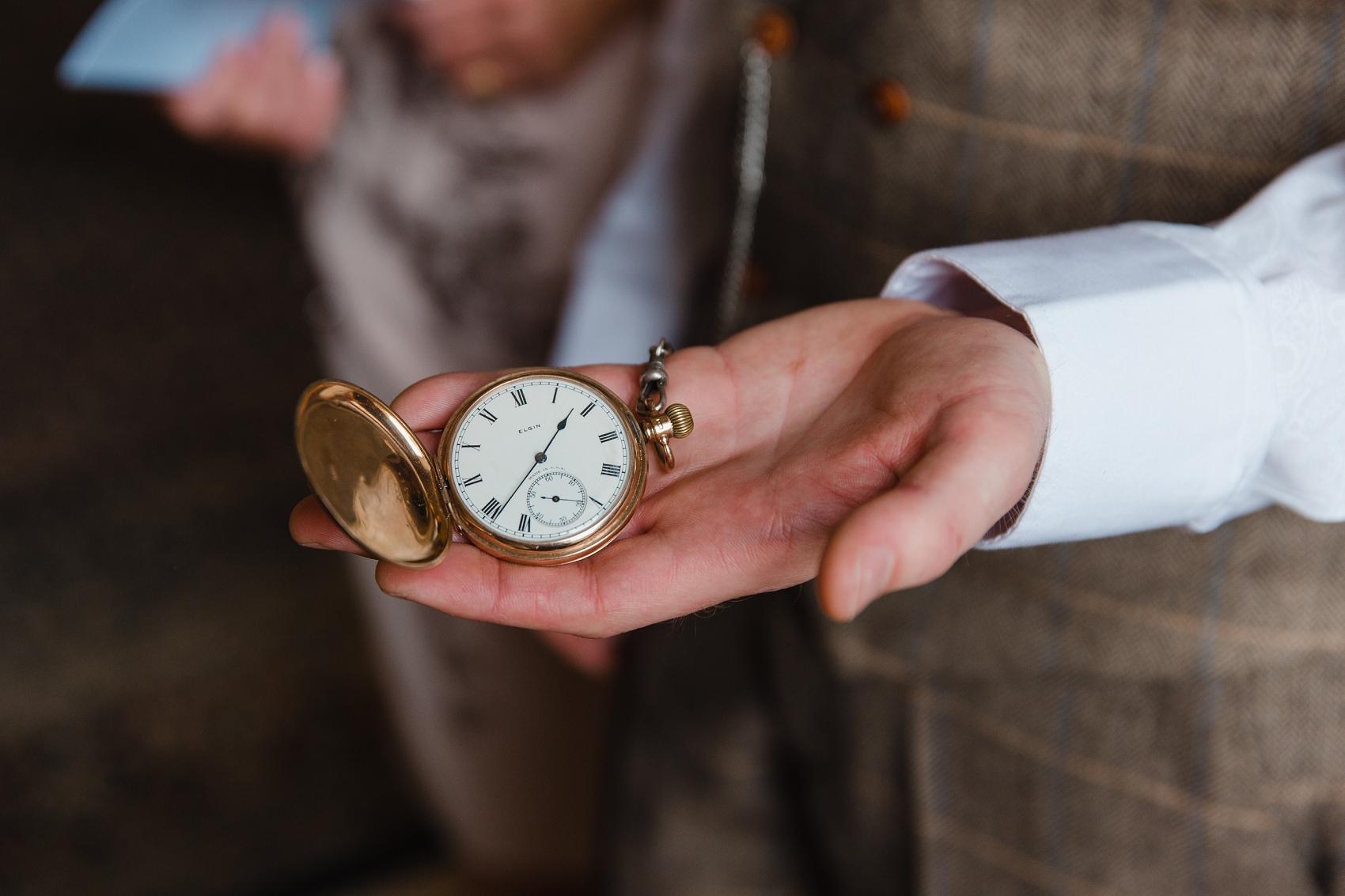 Vintage pocket watch groom style