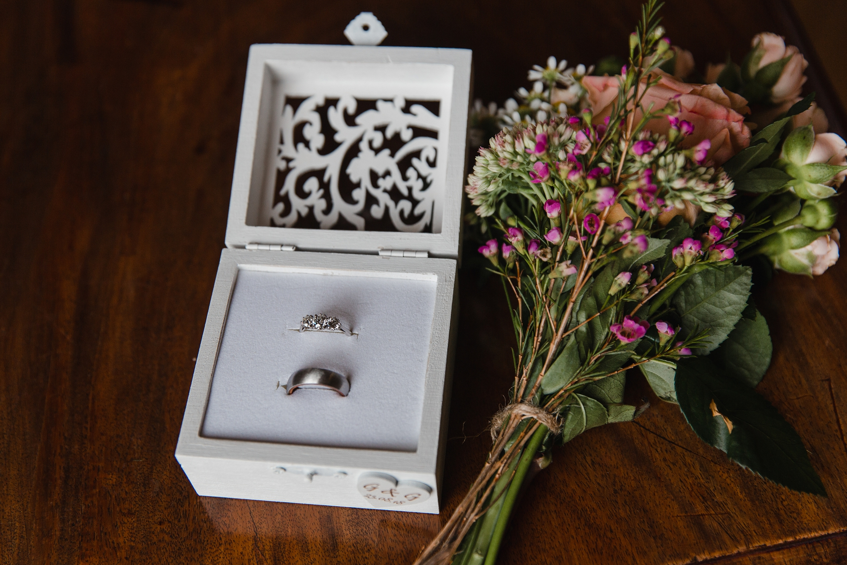 Wedding rings in handmade box