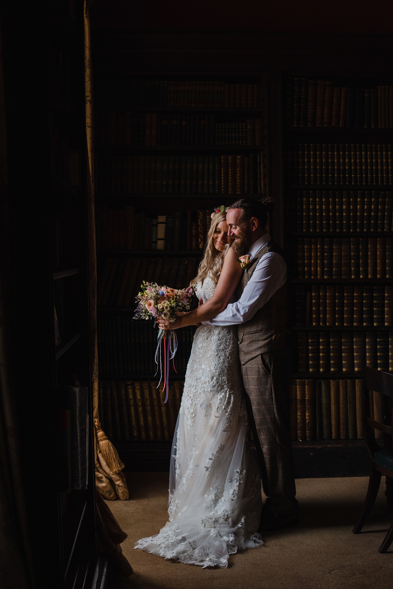 Couple in the library at Norwood Park