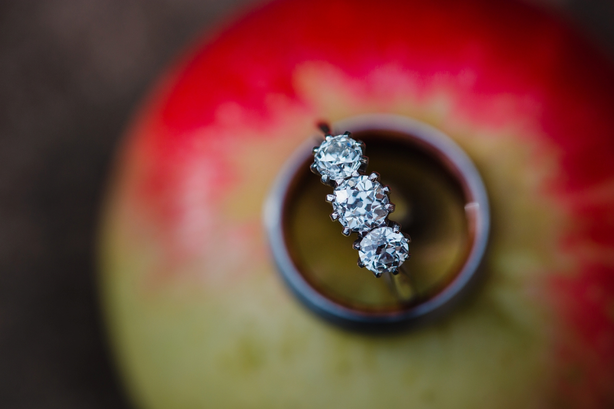 wedding rings on an apple