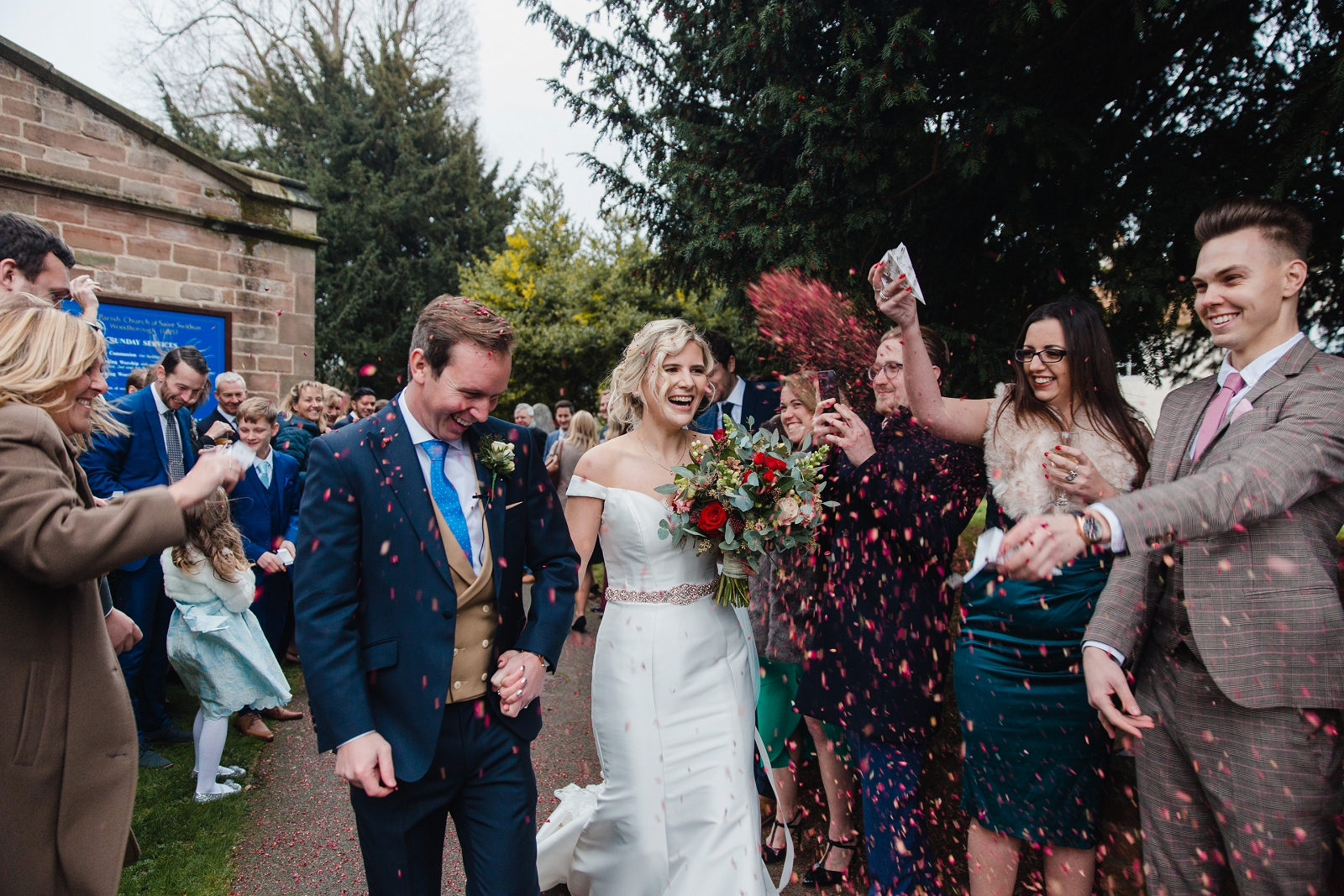 winter wedding confetti photograph