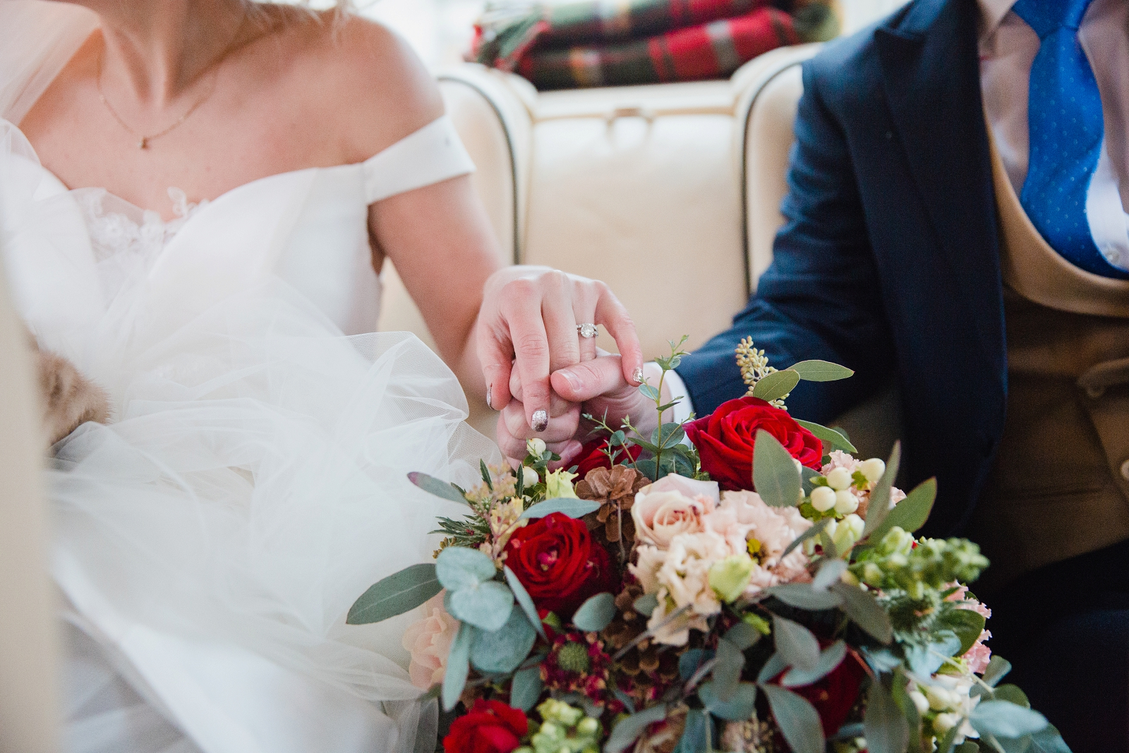 winter wedding hand connection