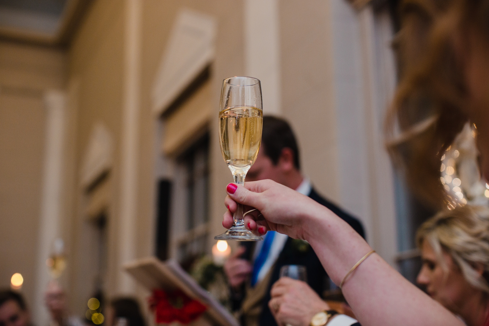 glass of champagne norwood park wedding