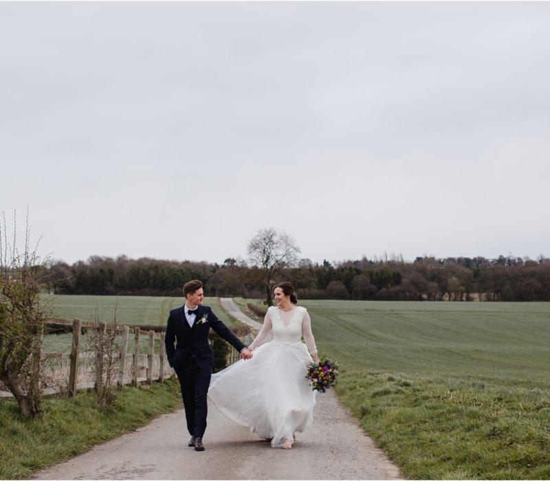 Windy winter wedding at Swancar Farm
