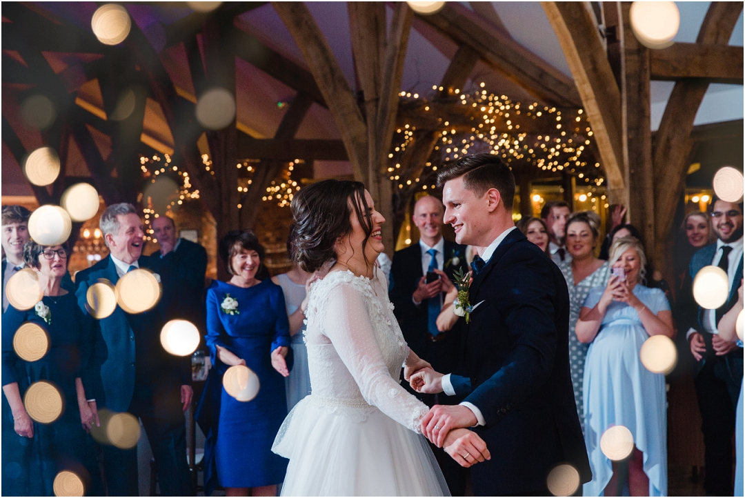 Sparkly first dance photo at Swancar Farm