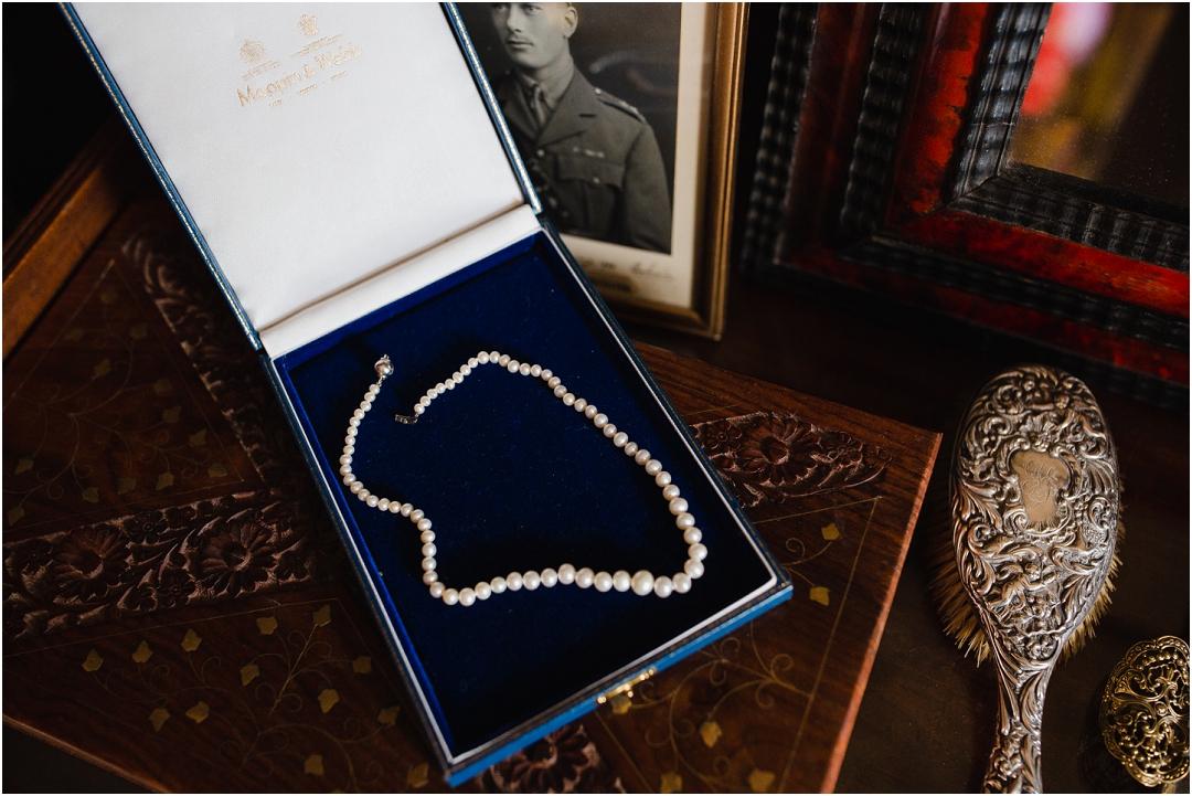 Vintage pearls and old desk Belvoir Castle