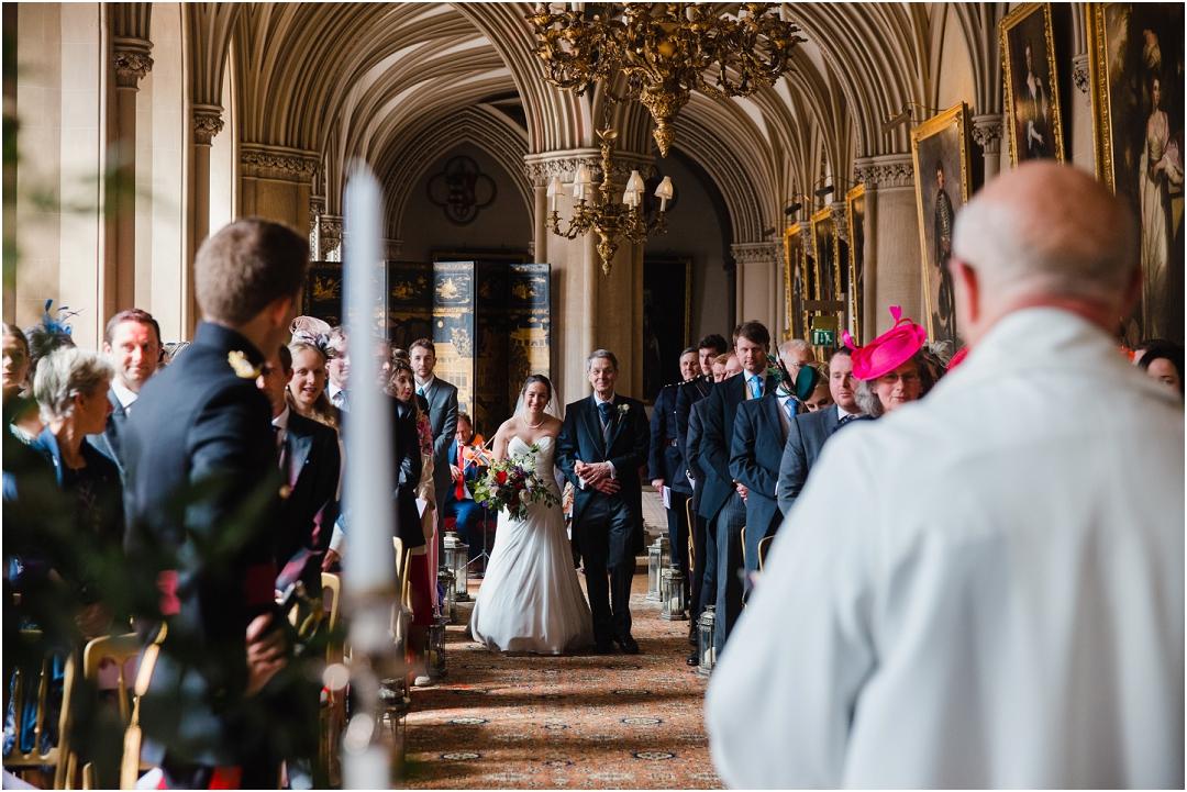 Bridal entry Belvoir Castle wedding