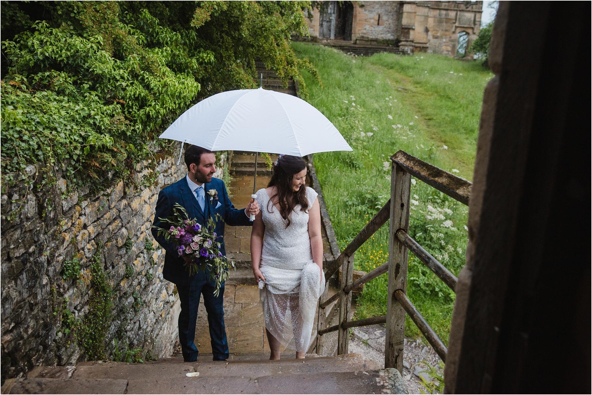 Rainy wedding at Haddon Hall