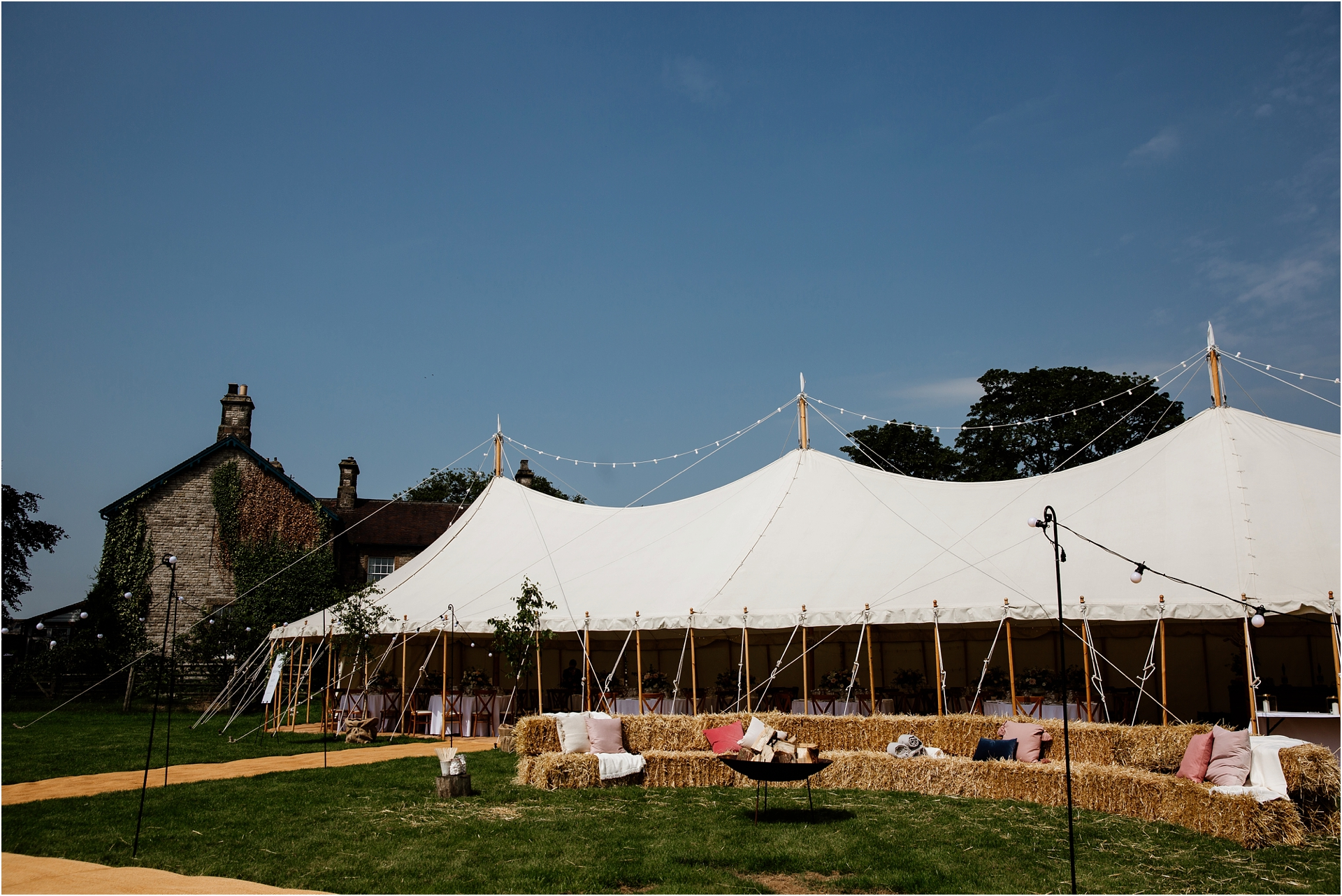 Marquee Home farm wedding in Derbyshire