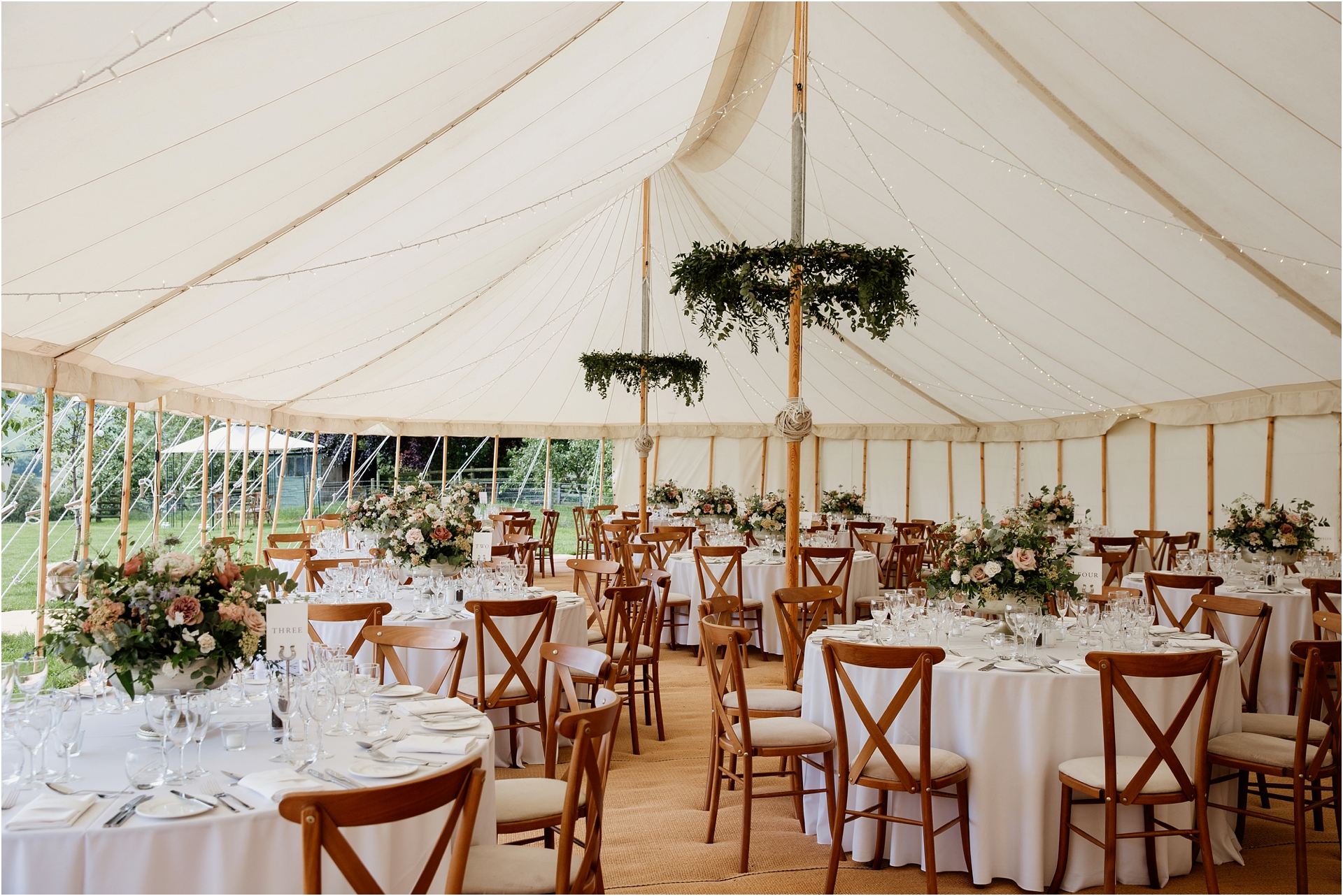 Marquee Home farm wedding Derbyshire