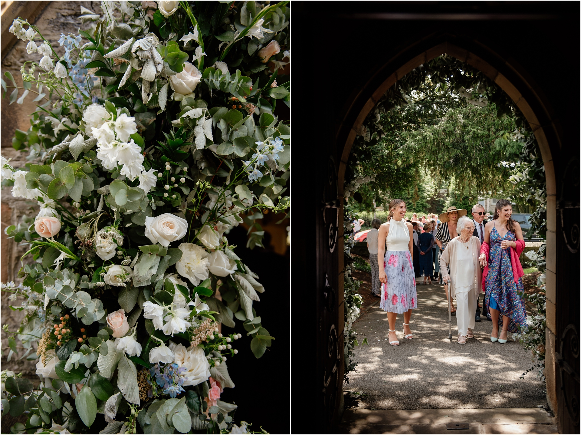 flower arch at church