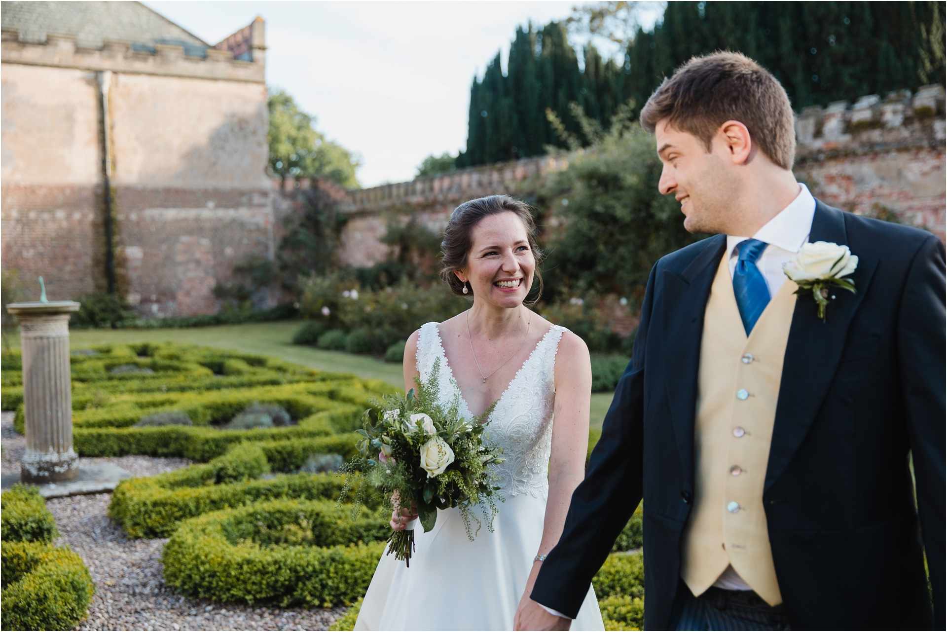 bride and groom at Holme Pierrepont Hall wedding