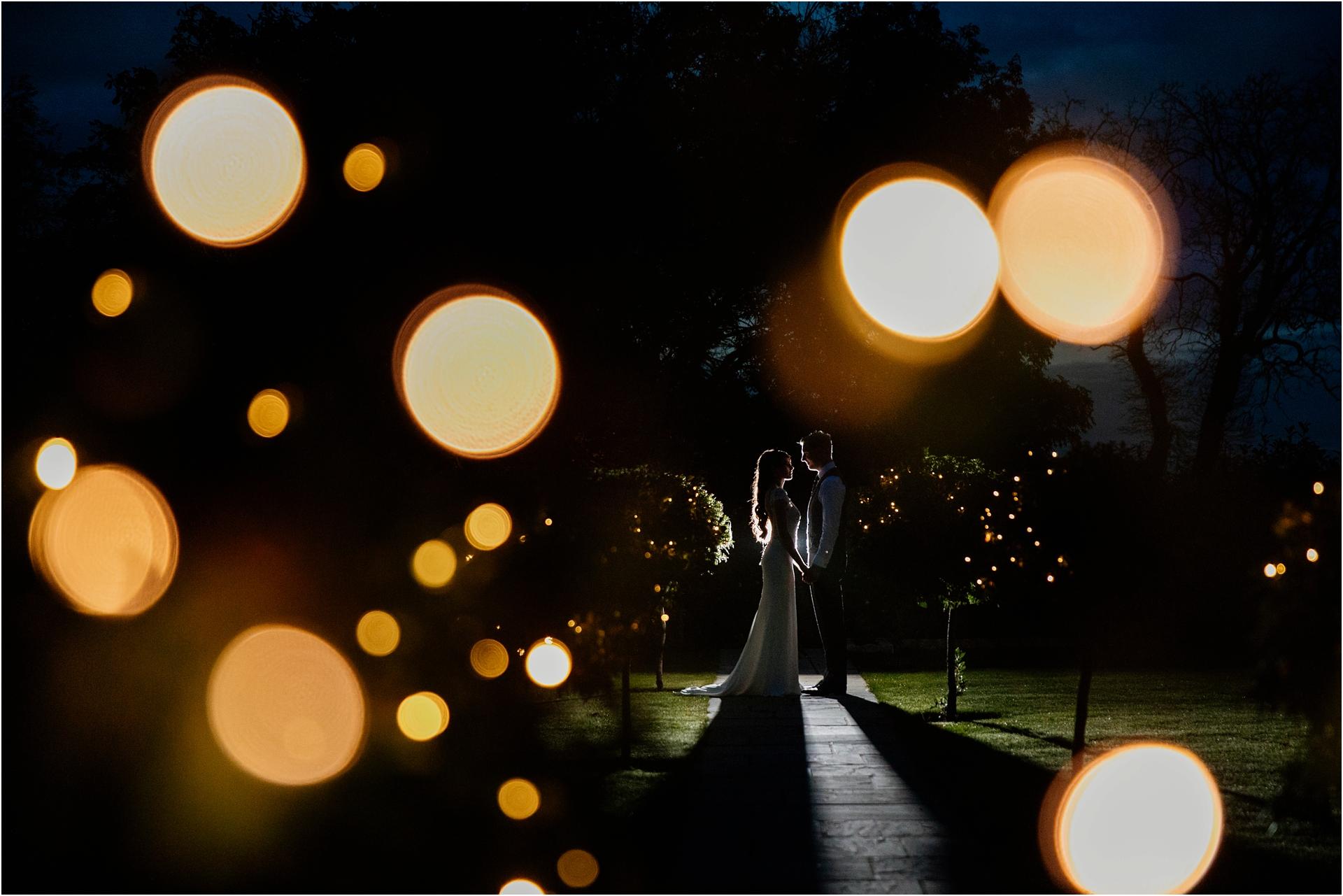Night time wedding photo at Blackwell Grange