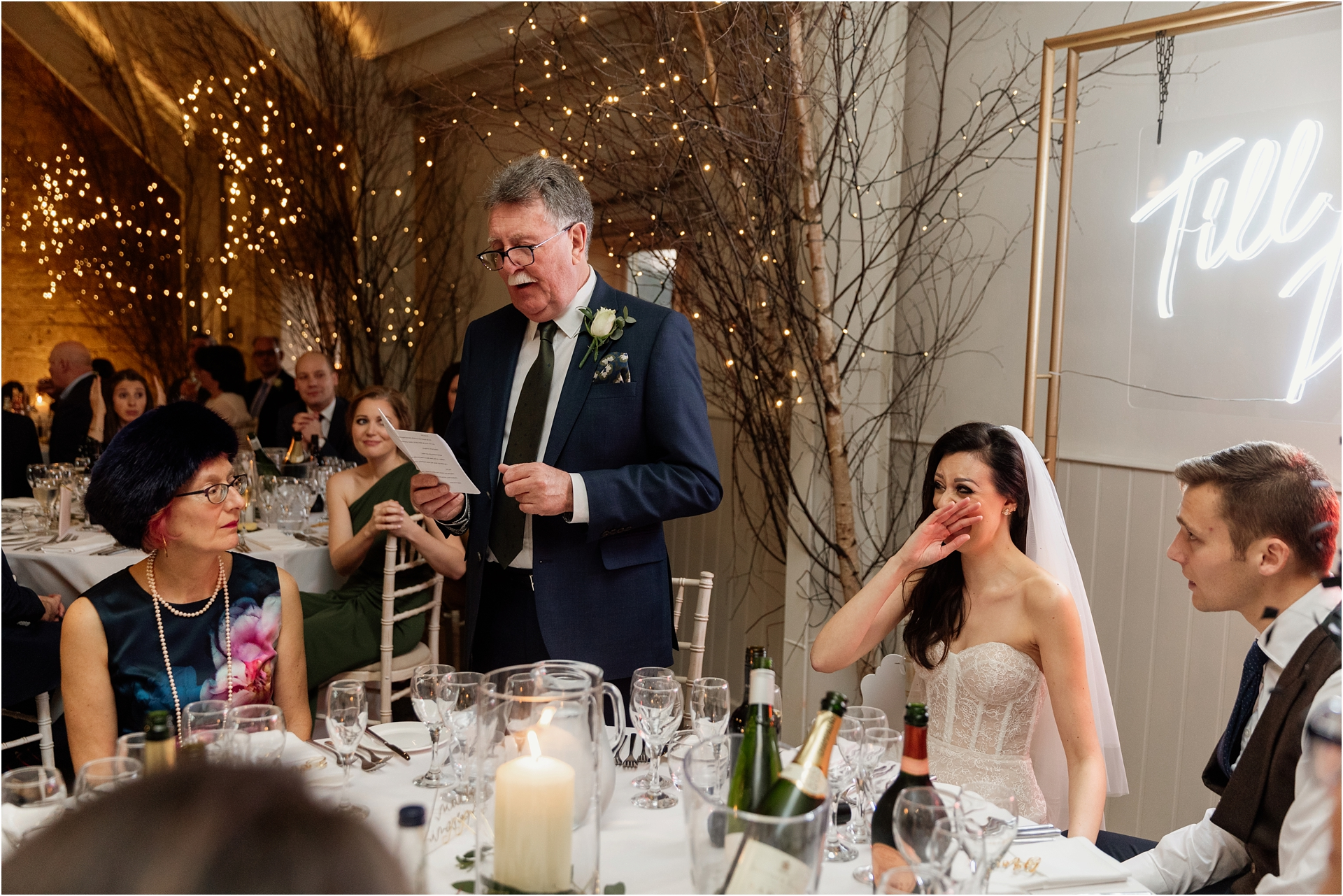 speeches at Lapstone Barn winter wedding