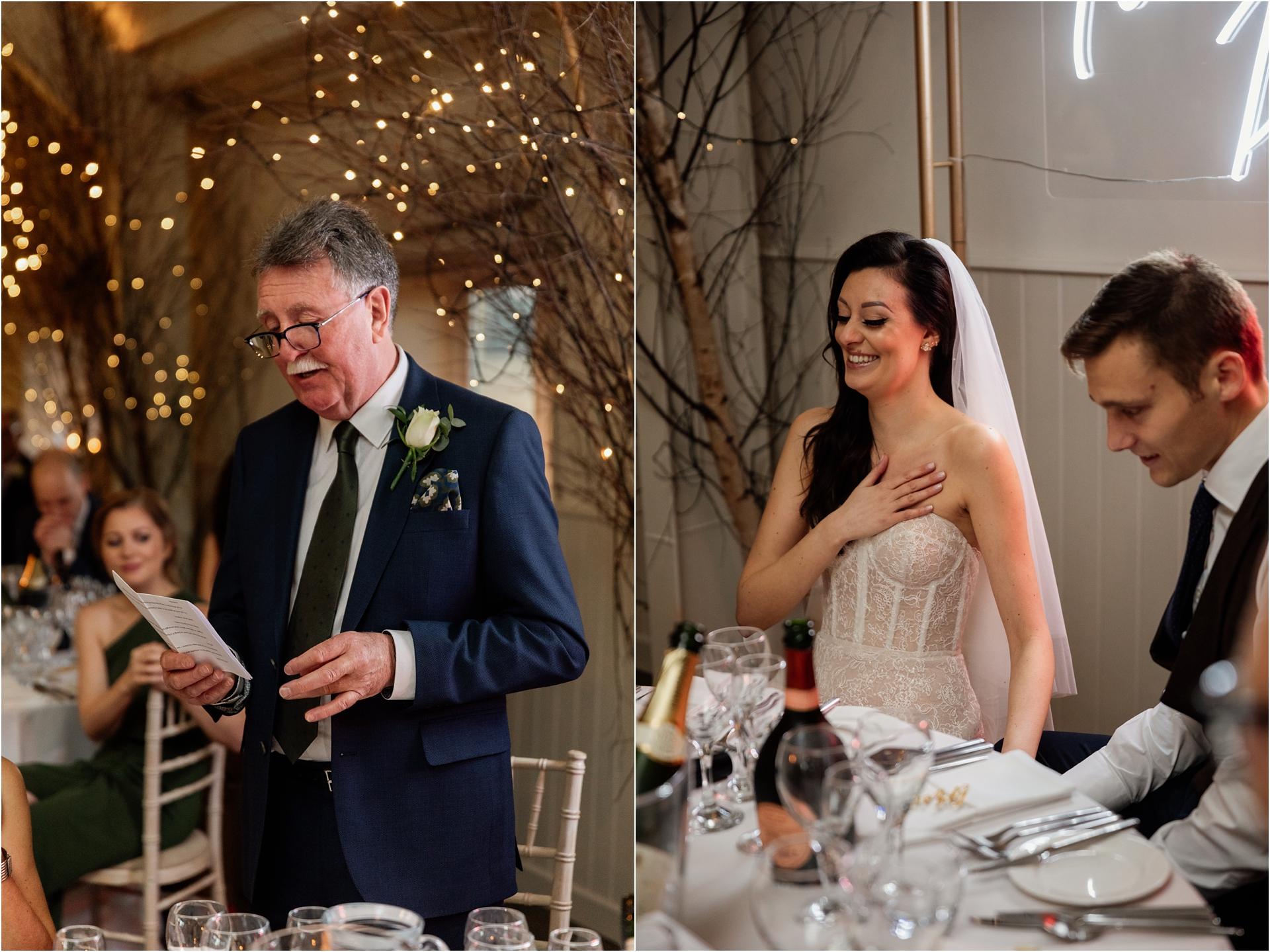 speeches at Lapstone Barn winter wedding