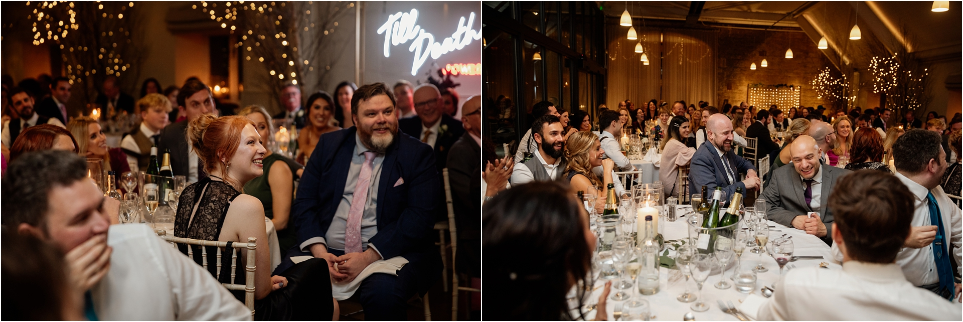 guests reactions winter wedding Lapstone Barn