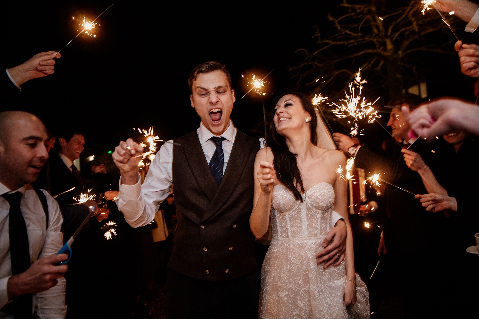 sparklers at Lapstone Barn wedding