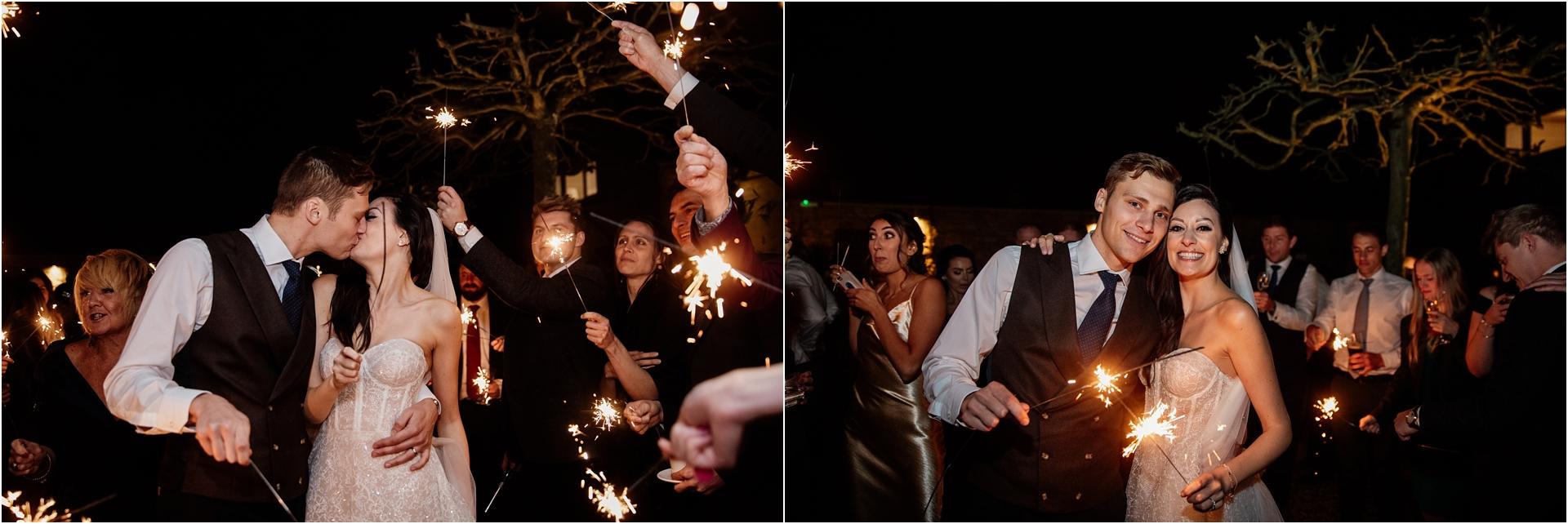 sparklers at Lapstone Barn wedding