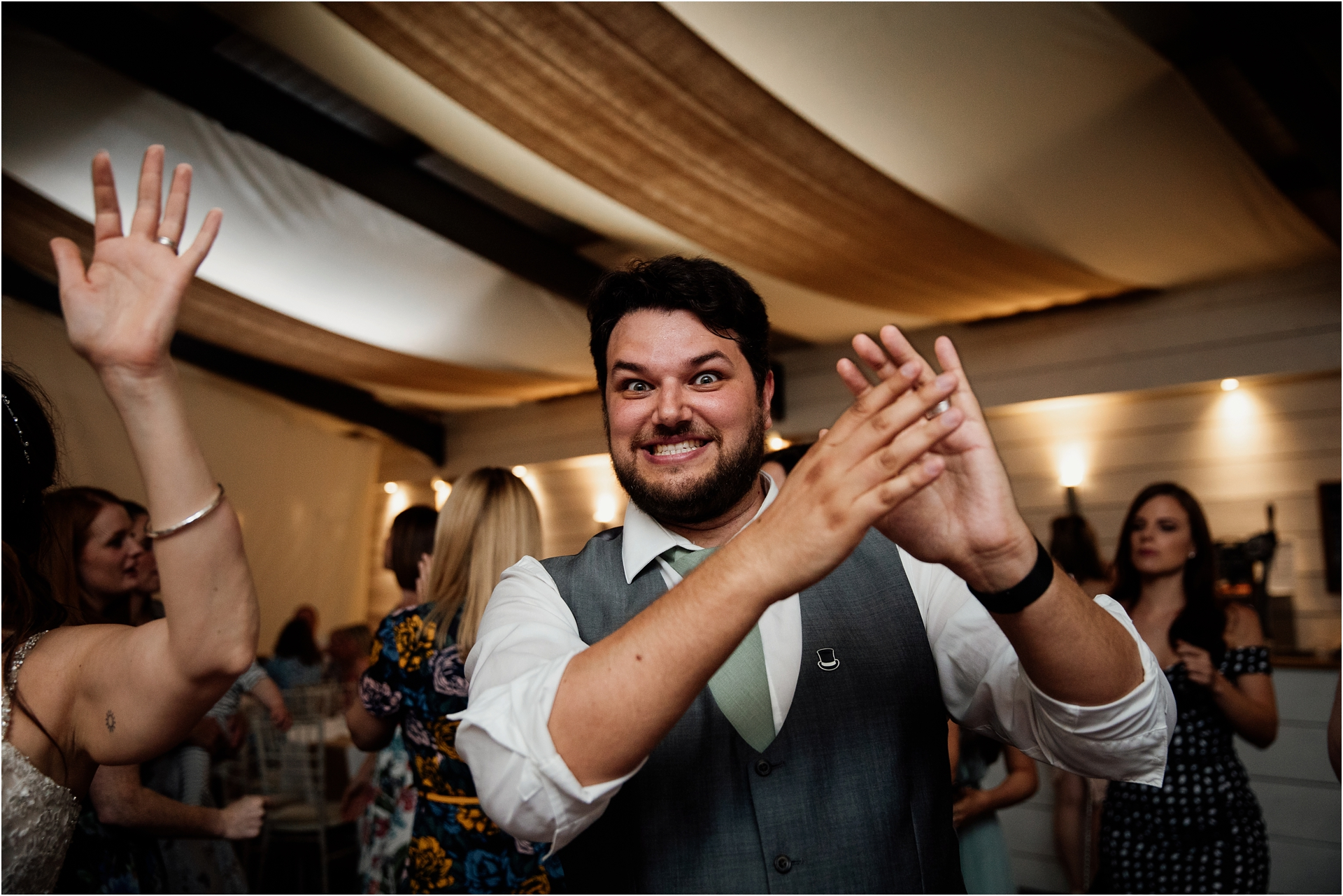 Evening party at Newton House Barns wedding