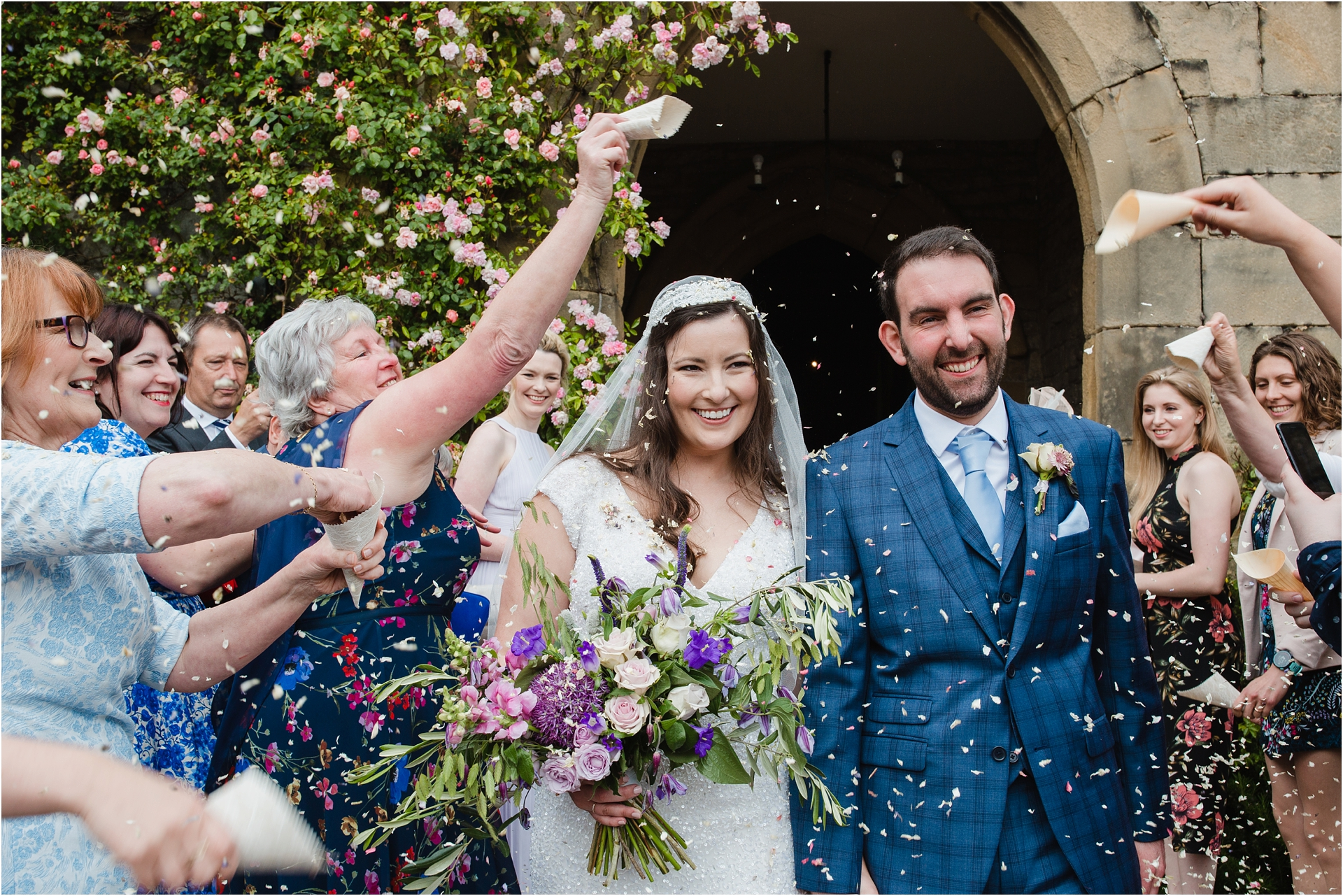 confetti at Haddon Hall wedding