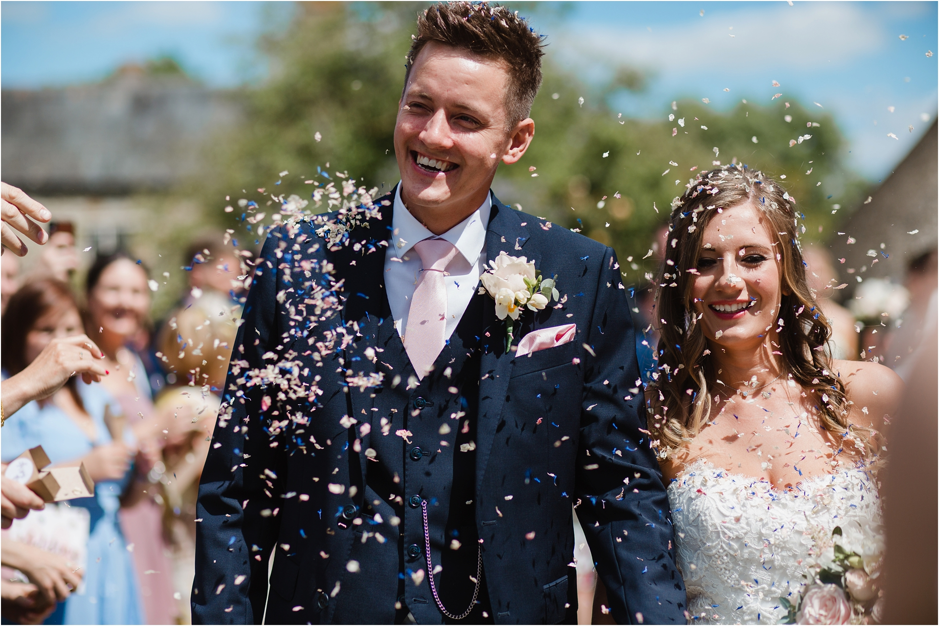 Blackwell Grange wedding confetti photograph